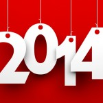 White tags with 2014 on red background